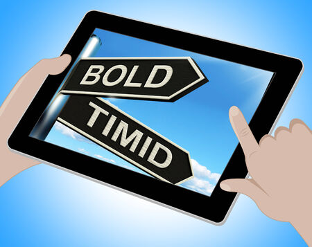 extrovert: Bold Timid Tablet Showing Extroverted And Shy