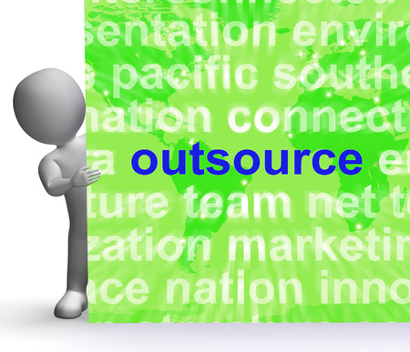 Outsource Word Cloud Sign Showing Subcontract And Freelance photo