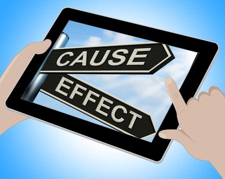 cause: Cause And Effect Tablet Meaning Results Of Actions Stock Photo