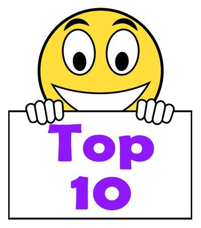 ten best: Top Ten On Sign Showing Best Ranking Or Rating
