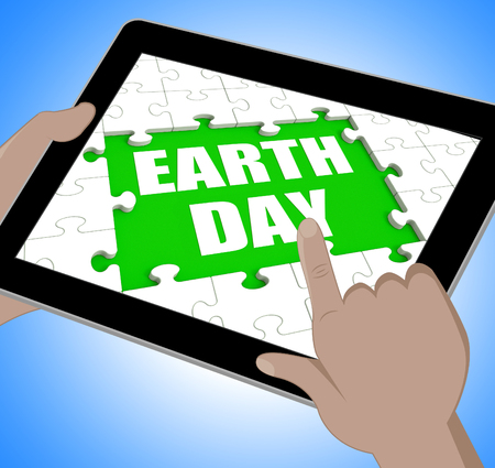 Earth Day Tablet Showing Conservation And Environmental Protection photo