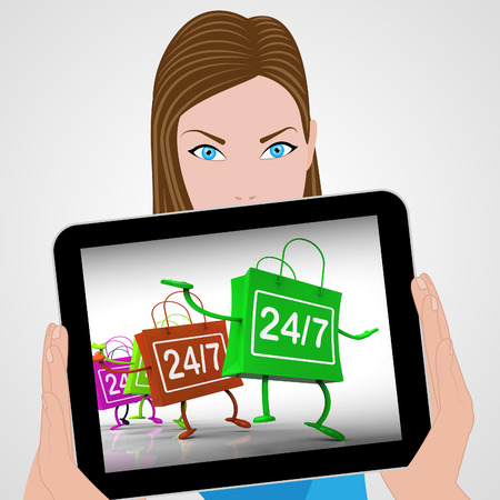 24x7: Twenty-four Seven Bags Displaying Shopping Availability and Open Hours