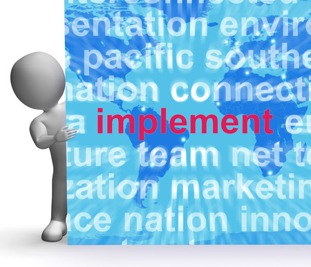 implementing: Implement Word Cloud Sign Showing Implementing Or Executing A Plan
