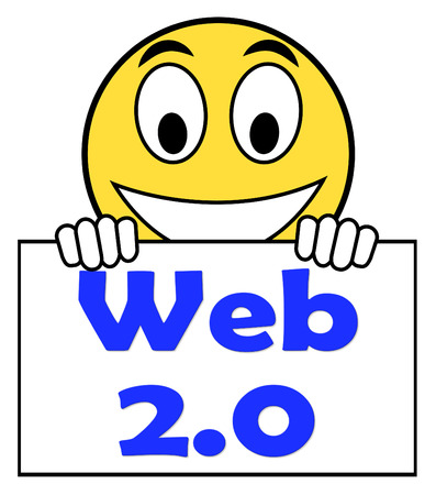 web technology: Web 2.0 On Sign Meaning Net Web Technology And Network Stock Photo