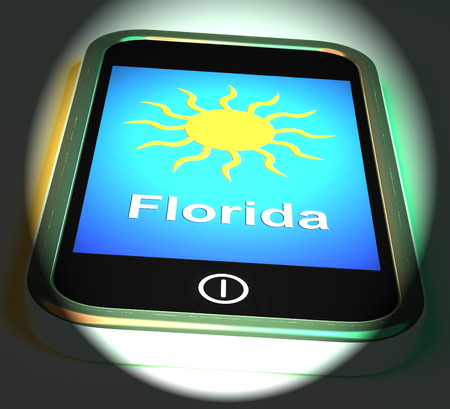 sunshine state: Florida And Sun On Phone Displaying Great Weather In Sunshine State Stock Photo