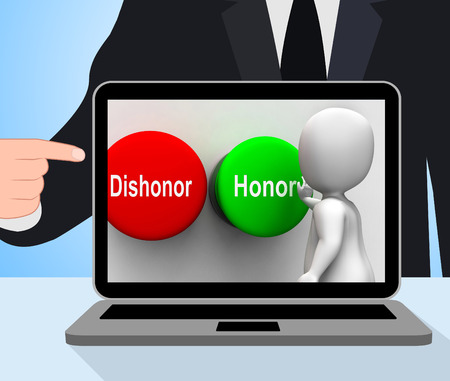morals: Dishonor Honor Buttons Displaying Integrity And Morals Stock Photo