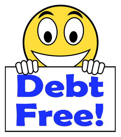 Debt Free On Sign Meaning Free From Financial Burden Фото со стока