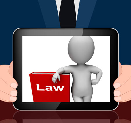 lawfulness: Law Book And Character Displaying Books About Legal Justice Stock Photo