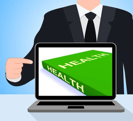 Health Book Laptop Showing Books About Healthy Lifestyle photo