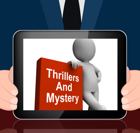 genre: Thrillers and Mystery Book With Character Displaying Genre Fiction Books Stock Photo