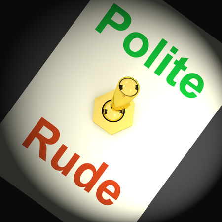 falta de respeto: Interruptor Rude Polite Mostrando modales y falta de respeto Foto de archivo