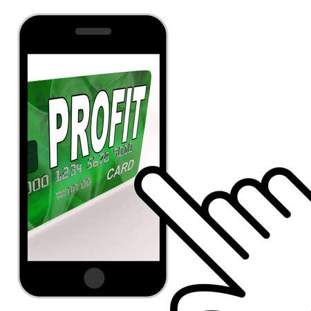 earn money: Profit on Credit Debit Card Displaying Earn Money Stock Photo