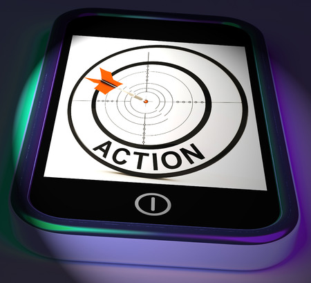 Action Smartphone Displaying Acting To Reach Goals photo
