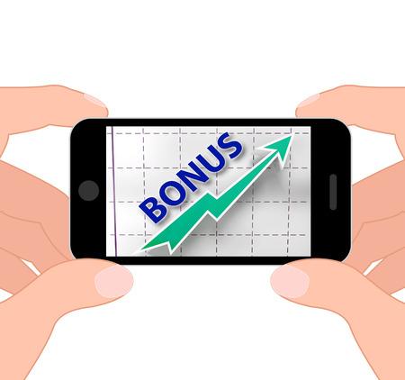 premiums: Bonus Graph Displaying Higher Premiums And Rewards Stock Photo
