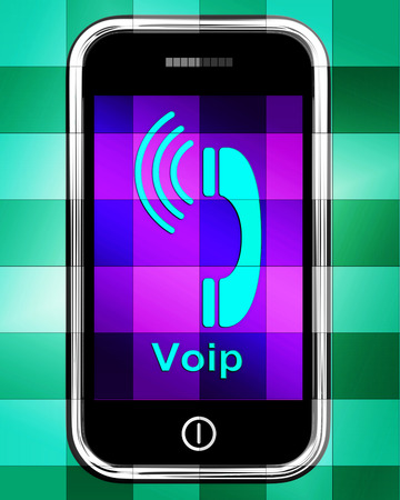 mobile voip: Voip On Phone Displaying Voice Over Internet Protocol Or Ip Telephony Stock Photo