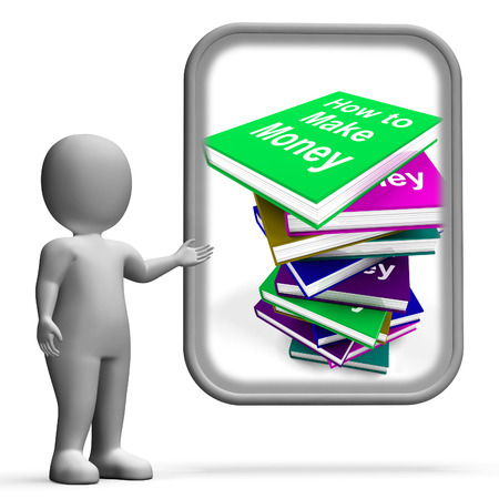 earn money: How To Make Money Book Stack Displaying Earn Cash Stock Photo