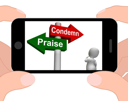 Condemn Praise Signpost Displaying Appreciate or Blame photo