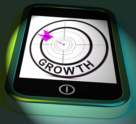 advancement: Growth Smartphone Displaying Expansion And Advancement Through Internet