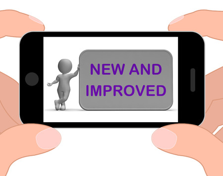 new and improved: New And Improved Phone Meaning Upgrade Or Recent Development Stock Photo
