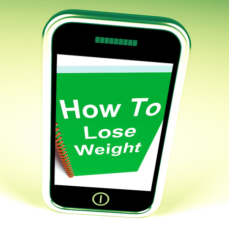 fibber: How to Lose Weight on Phone Showing Strategy for Weight loss Stock Photo