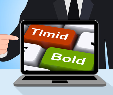 introvert: Timid Bold Computer Showing Shy Or Outspoken