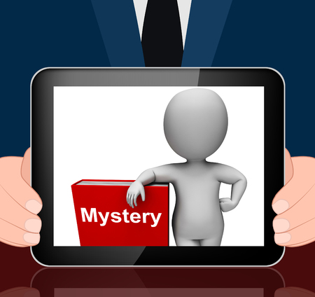 genre: Mystery Book And Character Displaying Fiction Genre Or Puzzle To Solve Stock Photo