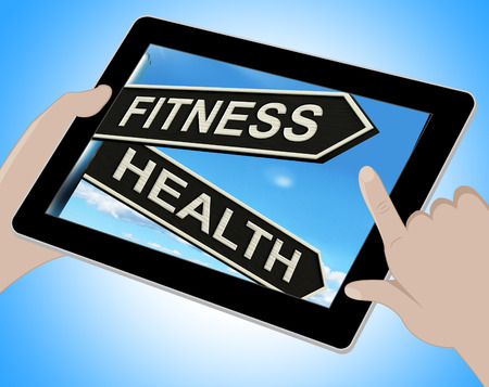 trabalhar fora: Fitness Health Tablet Showing Work Out And Wellbeing