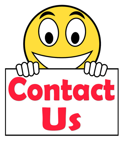 Contact Us On Sign Showing Communicate Online photo