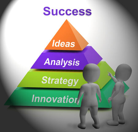 successes: Success Pyramid Showing Accomplishment Progress And Successful