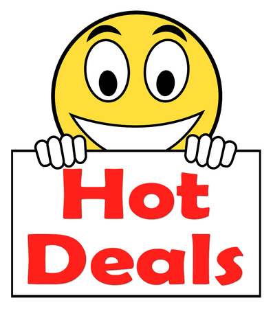 hot deal: Hot Deal On Sign Showing Bargains Sale And Save