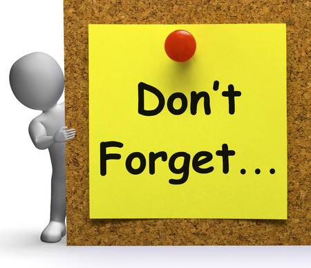 remembering: Dont Forget Note Meaning Important Remember Or Forgetting Stock Photo