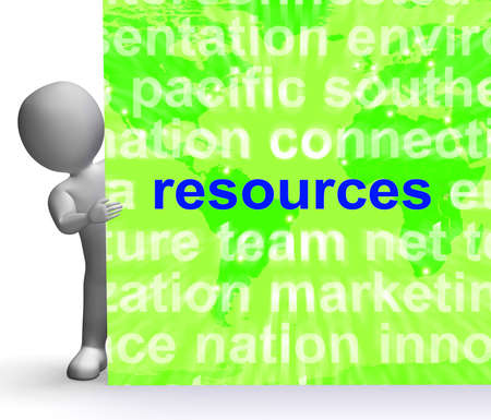 Resources Word Cloud Sign Showing Assets Human Financial Input