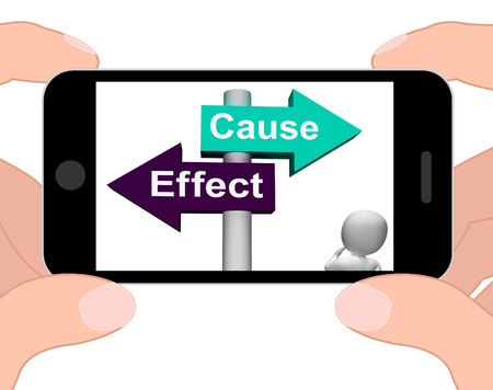 consequence: Cause Effect Signpost Displaying Consequence Action Or Reaction