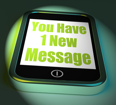 new message: You Have 1 New Message On Phone Displaying New Mail Stock Photo