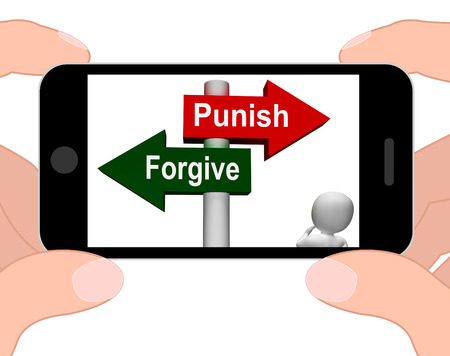 punish: Punish Forgive Signpost Displaying Punishment or Forgiveness