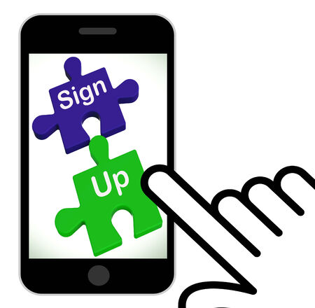 signup: Sign Up Puzzle Displaying Joining Or Membership Stock Photo