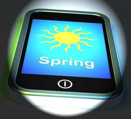 springtime: Spring On Phone Displaying Springtime Season
