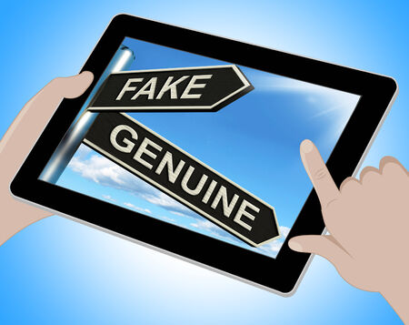 faked: Fake Genuine Tablet Showing Imitation Or Authentic Product