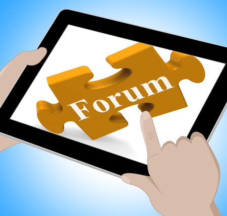 Forum Tablet Showing Internet Discussion And Exchanging Ideas photo