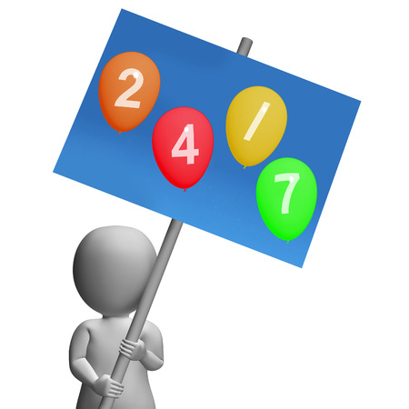 24x7: Sign Twenty-four Seven Balloons Representing All Week Availability and Promotions Stock Photo
