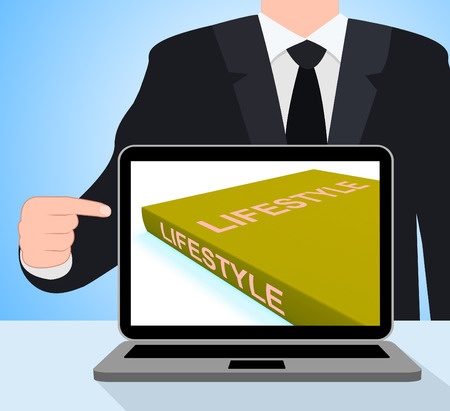 Lifestyle Book Laptop Showing Books About Life Choices photo