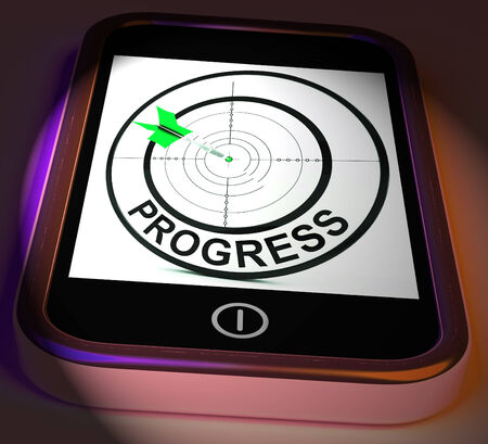 advancement: Progress Smartphone Displaying Advancement Improvement And Goals