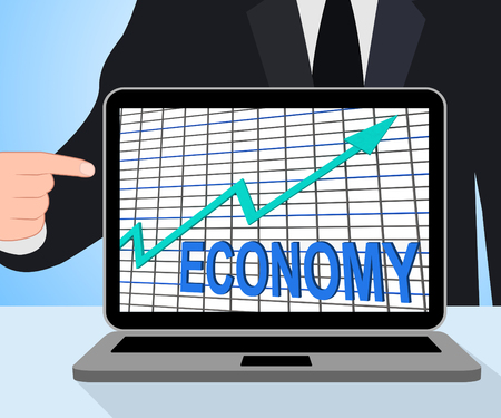 fiscal: Economy Graph Chart Displaying Increase Economic Fiscal Growth Stock Photo