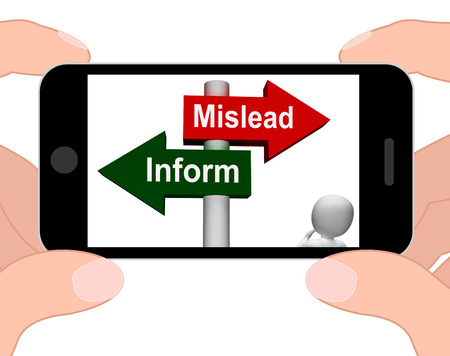 mislead: Mislead Inform Signpost Displaying Misleading Or Informative Advice Stock Photo