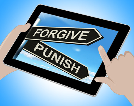 punish: Forgive Punish Tablet Meaning Forgiveness Or Punishment Stock Photo