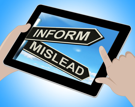 advise: Inform Mislead Tablet Meaning Advise Or Misinform Stock Photo