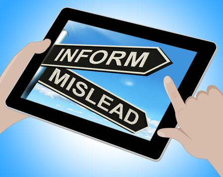 mislead: Inform Mislead Tablet Meaning Advise Or Misinform Stock Photo