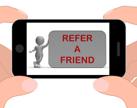 Refer A Friend Phone Showing Suggesting Website Stock Photo