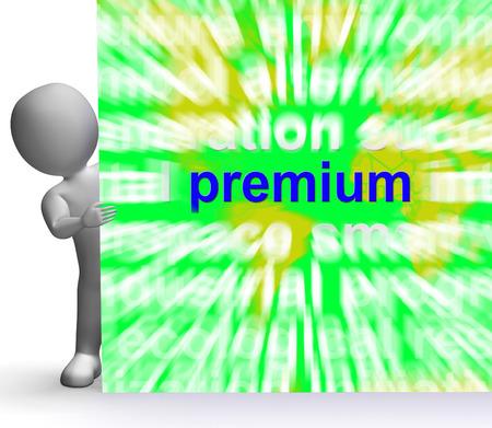 premiums: Premium Word Cloud Sign Showing Best Bonus Premiums Stock Photo