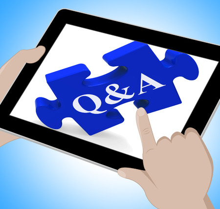 Q&A Tablet Showing Site Questions Answers And Information  photo